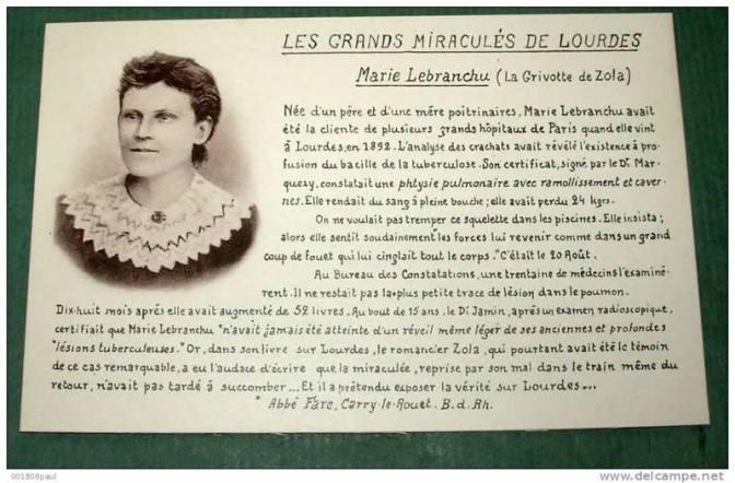 Marie Lebranchu e Marie Lemarchand: morte secondo Zola, vive secondo Lourdes