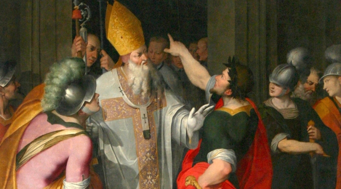 Dispensatore gratuito di buon umore: Sant'Ambrogio.